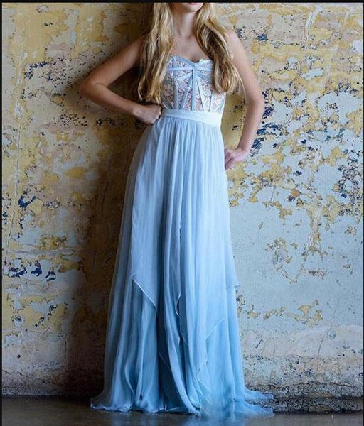 elegant Sweetheart A Line Chiffon Evening Dresses With Lace Appliqued Long Prom Dresse Custom MAde cheap REd Carpet Wears