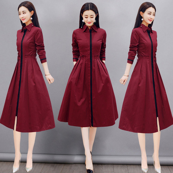Long Sleeve Dress Women 2018 Autumn CHEAP Shirt Dress Women F0112 High Quality Red Black Plus Size