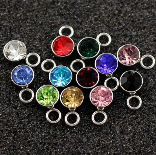 6mm 50pcs/lot stainless steel Birthstone charms Mix Colors Rhinestone For Jewelry making Bracelet DIY Jewelry Findings
