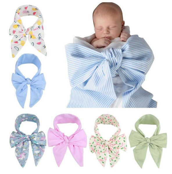Free DHL Newborn Baby Swaddle Wrap Photography Props Dovetail Bow Cloth Wrapping Baby Photo Fabric Infant Unicorn Watermean Wrap Cloth