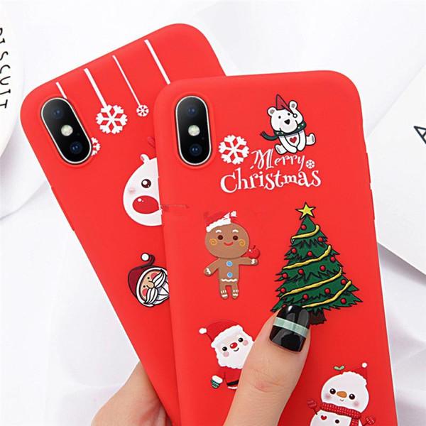 Nuova cassa del telefono di moda per iPhone 6 6s 7 8 Plus X XR XS Max Cute Cartoon Natale Babbo Natale Elk TPU morbido per iPhone 5 5S SE Cover