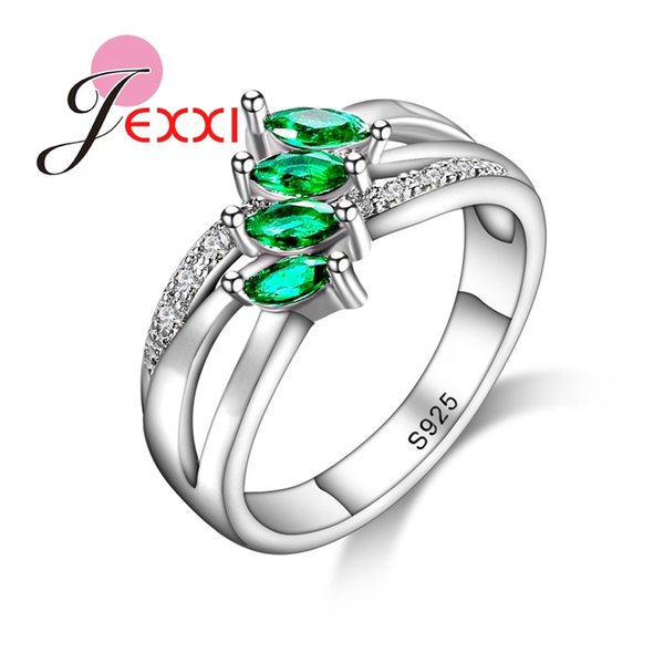 YAAMELI Young Fashion Rings Jewelry Four Green Cubic Zircons Crystals 925 Sterling Silver Women Bridal Wedding Engagement Ring