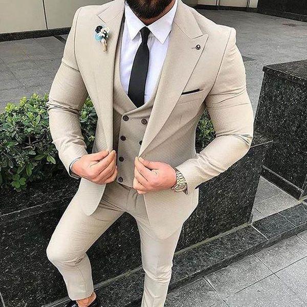 베이지 신랑 턱시도 아이보리 남성 정장 웨딩 정장 블레이저 트림 피트 남성 신랑 착용 신랑 코트 바지 Bestmen 3 Piece (Jacket + Pants + Vest)
