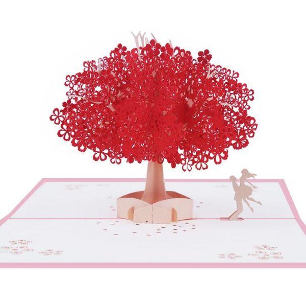 Zarif sakura tebrik kartı 2 tasarım el yapımı 3D Pop UP posta kartı sevgililer için romantik sakura kartpostallar düğün kartpostal davetiyeleri arkadaşlar