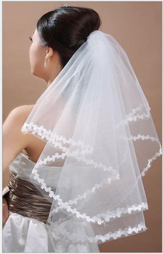 Cheap Sale Bridal Veil Short One Layer Formal Bride's Hair Veil White ivory Red Bridal Accessories Wedding Veil