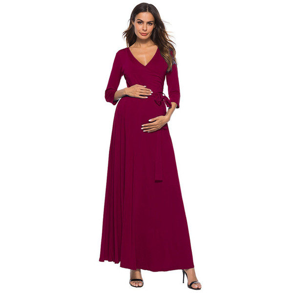 2018 New Summer Europe America Women's V-neck Cropped Sleeve Solid Lace-Up Dress Pregnant Women's Natural Belt Maternity Dresses
