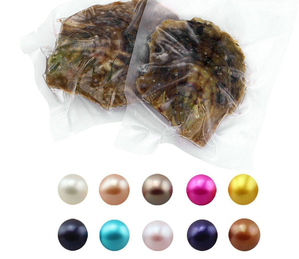 top popular 30PCS LOT Natural Pearl 6-8MM Round Pearl in Oysters Akoya Oyster Shell with Colouful Pearls Jewelry By Vacuum Packed 2019