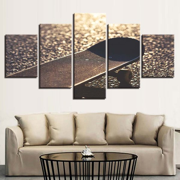 Living Room Poster Pictures Modern Home Decoration 5 Pieces Sports Skateboard Frame Modular HD Printed Canvas Paintings Wall Art