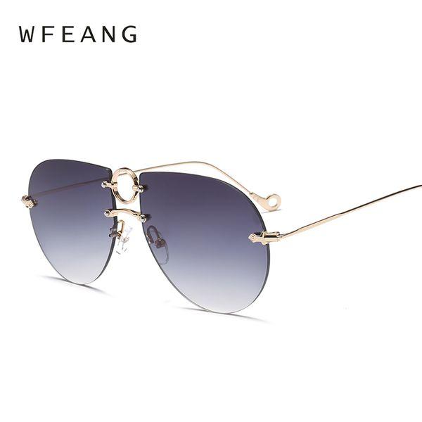 WFEANG Fashion Occhiali da sole oversize Donne UV400 Retro Brand Designer Grandi occhiali da sole con montatura per occhiali da sole femminili