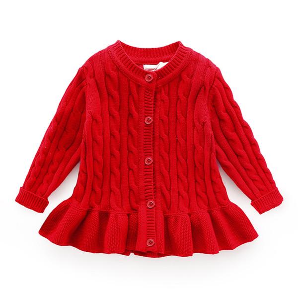 Baby Winter Strickjacke Alter für 1-8 einfache dicke warme Kinder Pullover 2018 neue Herbst Baby gestrickte Tops niedlichen Kleinkind Mädchen roten Pullover