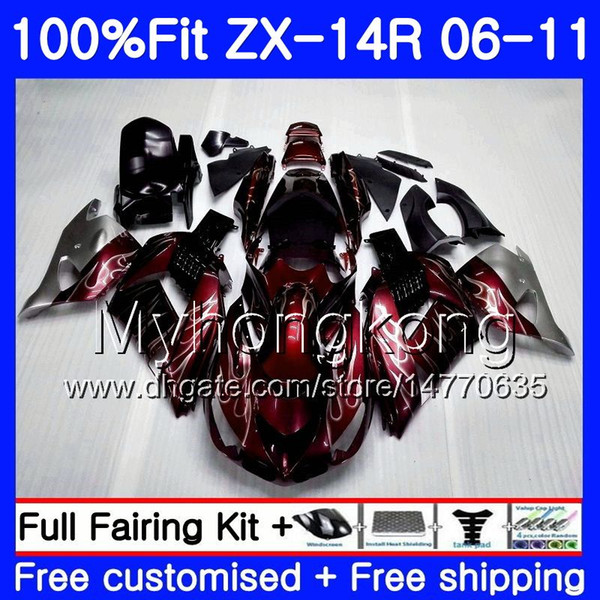 Инъекция для Kawasaki NINJA ZX 14R 14 R ZX14R 06 07 08 09 10 11 223HM.7 ZZR1400 ZX-14R Вино красное горячее 2006 2007 2008 2009 2010 2011 зализ