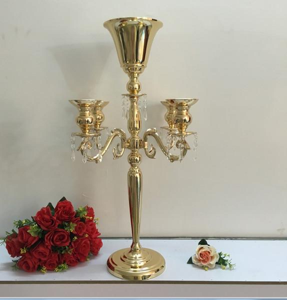 Elegant Hochzeit Tisch Groß Kandelaber Mit Kristall Herzstück Blumentopf Vase  Kerzenständer Halter Säule Kerze Display Hochzeit Requisiten