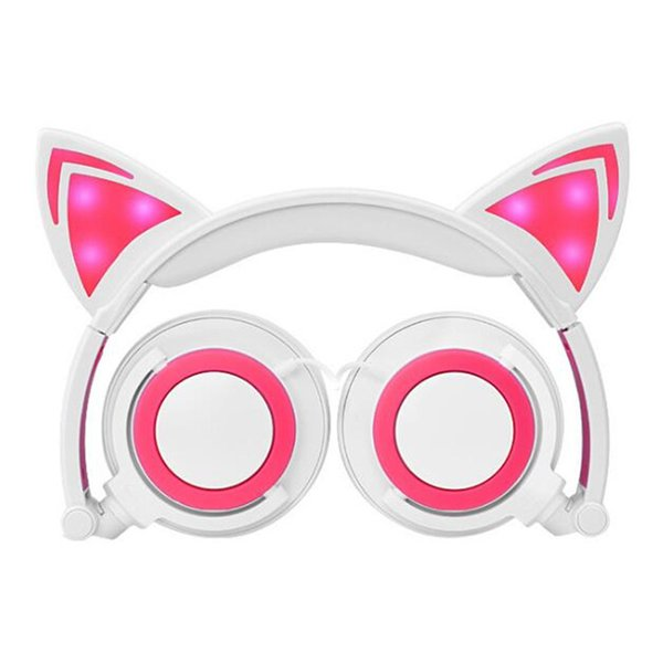 Kids Cosplay Cat Ear Foldable Flashing Glowing Children headsets Gaming Headphone LED light Over Ear Earphones For PC Laptop Computer USZ167