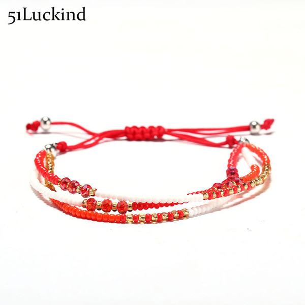 Fashion 6 Color Hand Braided Red Rope Bracelet Small Seed Beads String Braclet Multialyer Braslet For Women Girls Lucky Jewelry