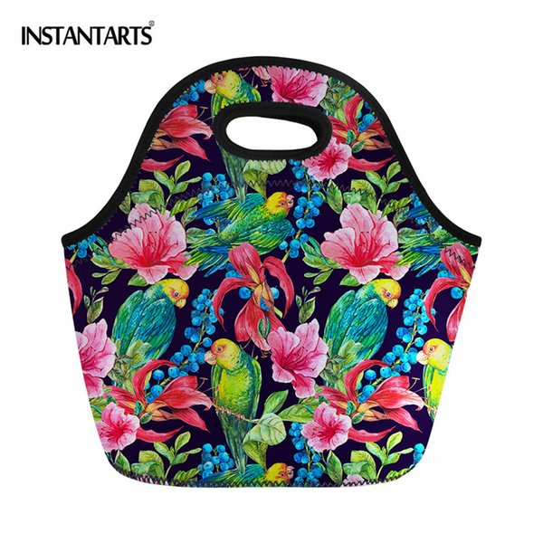 INSTANTARTS Outdoor Camping Hiking Lunch Picnic Bags Portable Picnic Bag Storage Basket Handbags Lunch Box for Women Adults