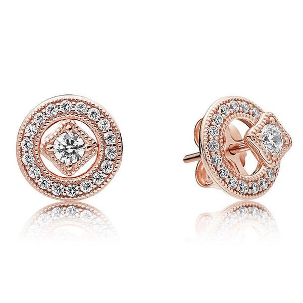 Authentic 925 Sterling Silver Earring Rose Vintage Allure Studs Earring With Crystal For Women Wedding Gift Europe Jewelry