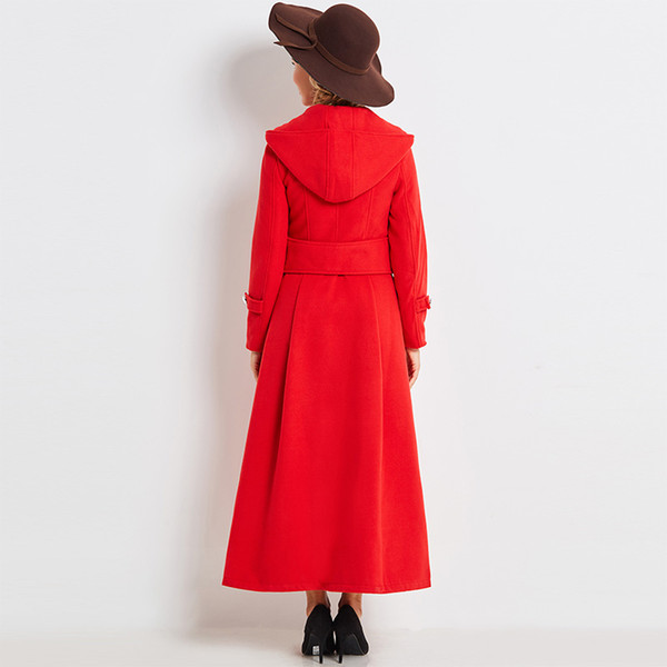 Female Red Elegant Coat Fall Winter long Trench 2018 Doube Breasted feminine Out Wear Long Sleeve Ankle length Women's Trench