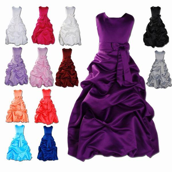 GIrl's Fashion Long Ruffle Satin Custom Cute Ball Gown Flower Girl Dress Floor Length Hand Made Flowers Bows Kids Prom Birthday Dress