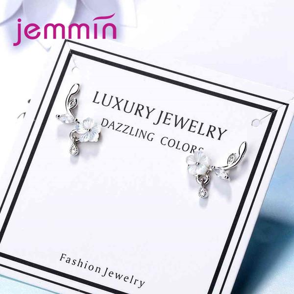 JEMMIN Special Flower Design Earrings For Women Female Great Wedding Engagement Pattern 925 100% Sterling Silver Jewelry Popular