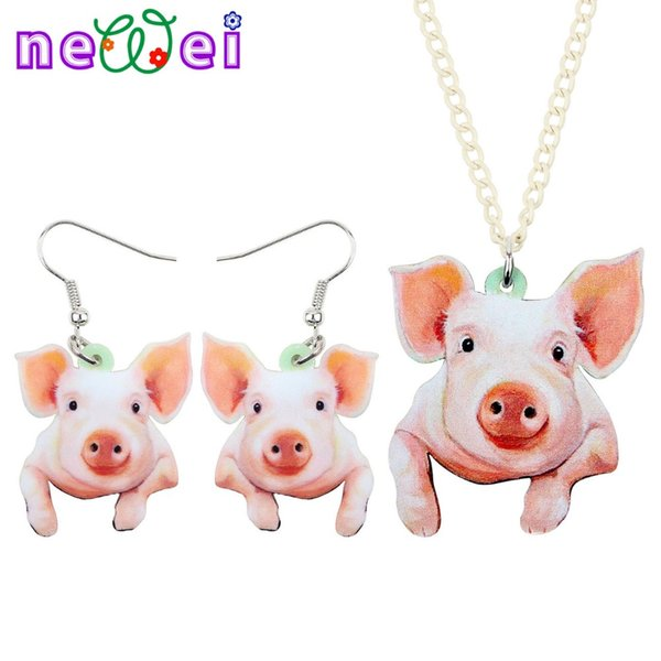 NEWEI Sweet Acrylic Happy Pig Piggy Earrings Necklace Chain Collar Fashion Farm Animal Jewelry Sets For Women Girls Gift Charms
