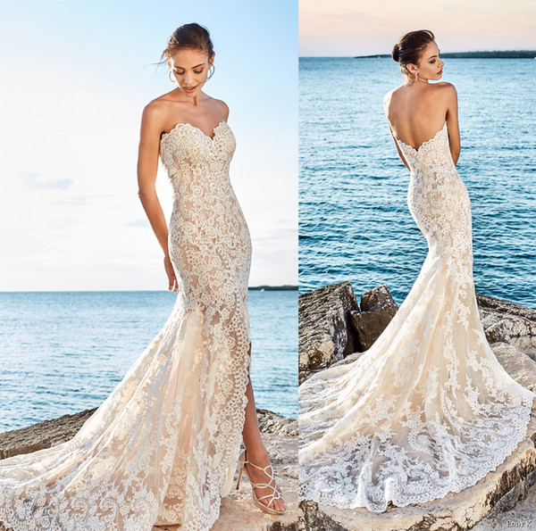 Sexy Side Slit Beach Lace Wedding Dresses 2017 Eddy K Bridal Fit And ...