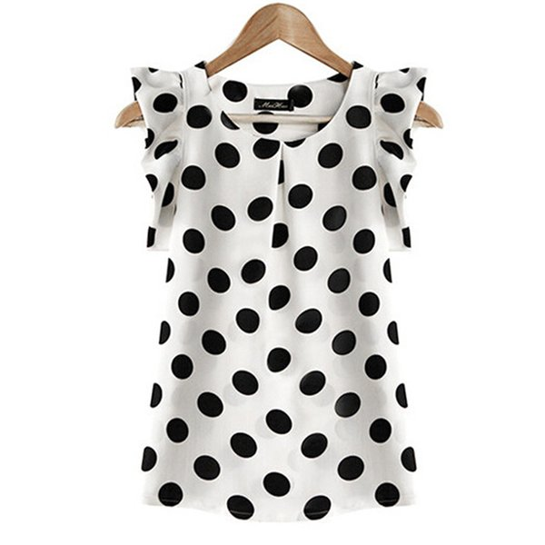 2018 Hot Sales New Summer Womens Ladies Chiffon Blouse Puffed Short Sleeve Dot Print Top Blusa Plus Size XXL Black White