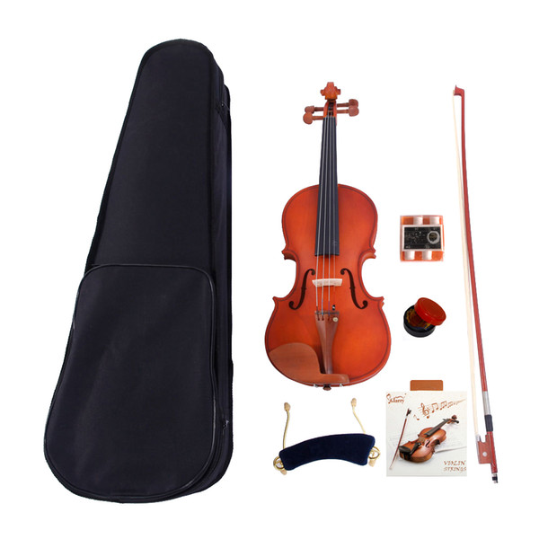 best selling Musical Instruments 4 4 Acoustic Matt Violin with Case Bow Rosin Strings Shoulder Rest Tuner Natural for Age 11
