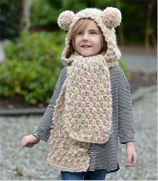 Winter Girls Solid Bear Hats Scarves Lovely Kids Warm Thickening Bear Knitted Cap Children Bear Wool Hats Long Muffler
