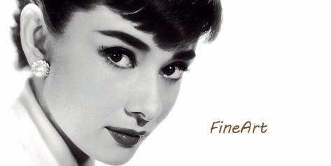 hand-painted wall art audrey hepburn painting black and white canvas wall art decorative painting unique gift Kungfu Art