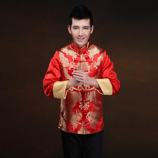 Hombres ropa oriental oriental tradicional traje rojo Toast Novio vestido de boda más tamaño Cheongsam Top Tangzhuang chaqueta