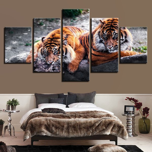 Modern Canvas Pictures Wall Art Framework Living Room Home Decor HD Prints 5 Pieces Fierce Tigers Paintings Forest Animal Poster