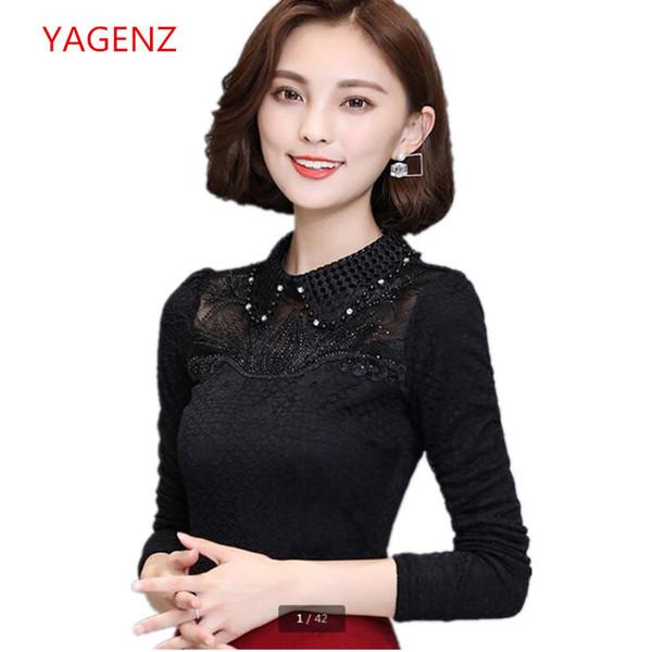 High quality shirt Women autumn tops 2018 NEW Add wool Bud silk Long sleeve Shirt Set auger Set head Young women clothes K3038