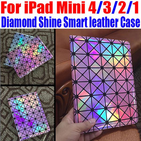 Para iPad Mini 4/3/2/1 Lujo Fashion Diamond Shine Funda de cuero inteligente Soporte de funda para iPad Mini 4 + Película de pantalla NO: IM305