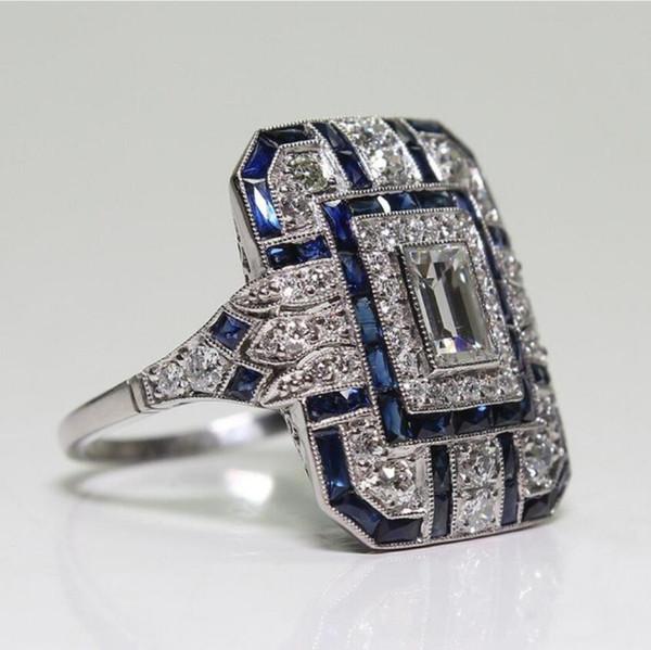 gioielli di design blu gioiello anelli di cristallo per le donne signore anelli femminili moda calda senza spese di spedizione