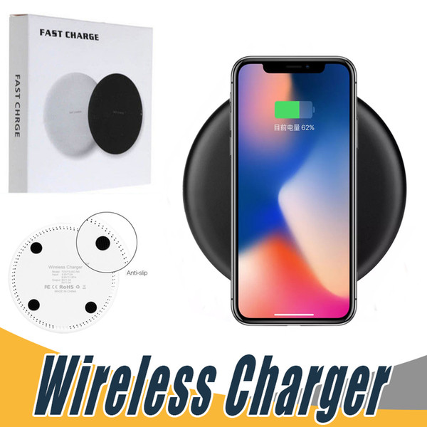 Fast Qi Wireless Charger For iPhone X 8 Plus Samsung Note 8 S8 S9 Plus S7 edge 5V 2A 9V 1.67A Quick Charger Charging Pad With Retail Package