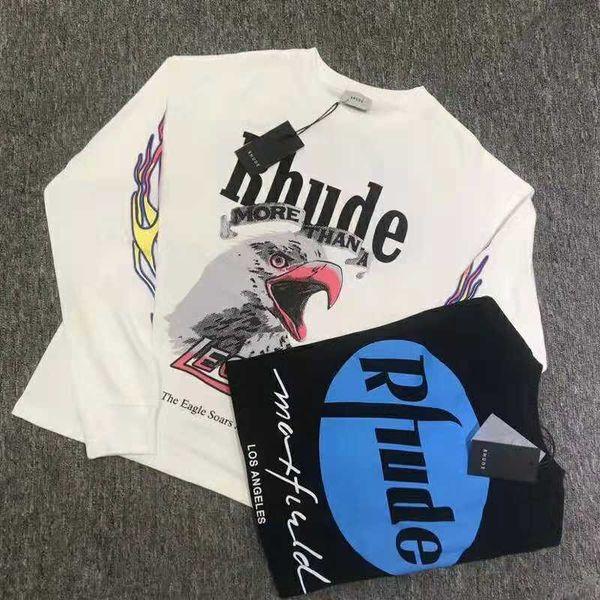 Eagles Impreso RHUDE x Maxfield OVERSIZE Camiseta de manga larga HIP HOP Hombre Mujer Alta calidad RHUDE Blanco Negro Color Camiseta de manga larga Camiseta