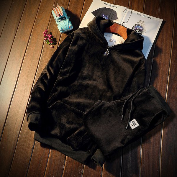 Зимние спортивные костюмы Мужские комплект сгущает флисовый пуловер Толстовка + брючный костюм Спортивная одежда Мужская толстовка с капюшоном Спортивные костюмы