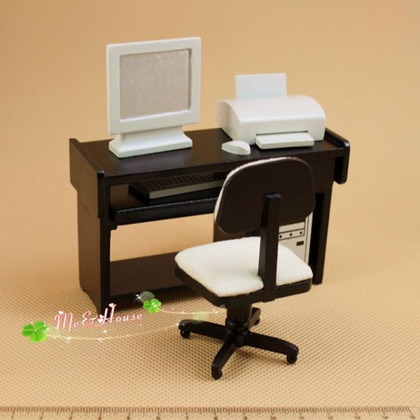 1:12 Dollhouse Miniature Furniture Computer Desk Chair Printer Set by Generic
