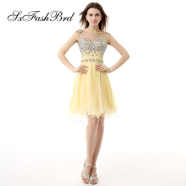 Fashion Elegant O Neck With Crystals Mini Short A Line Yellow Tulle Party Formal Evening Dresses Women Prom Dress