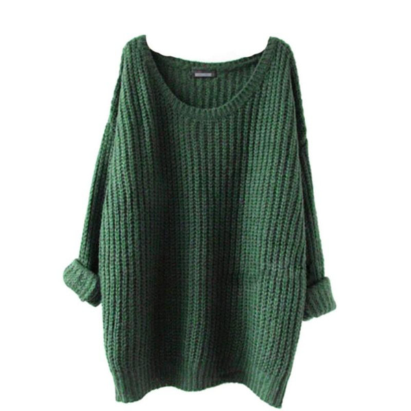 Autumn Winter Sweater Women O-Neck Loose Oversized Pullovers Solid Jumper Knitted Basic Sweaters 5 Colors new