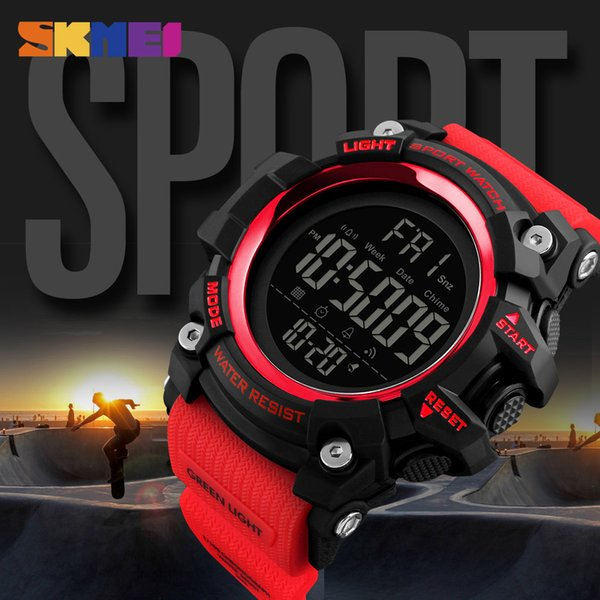 SKMEI Fashion Outdoor Sports Watch Sport Countdown 2 Time Alarm Digital Watch Waterproof Wristwatch Men Clock Relogio Masculino