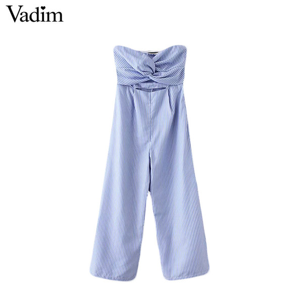 Vadim sexy striped sleeveless jumpsuits strapless backless pleated design cut out waist rompers female casual playsuits KA133