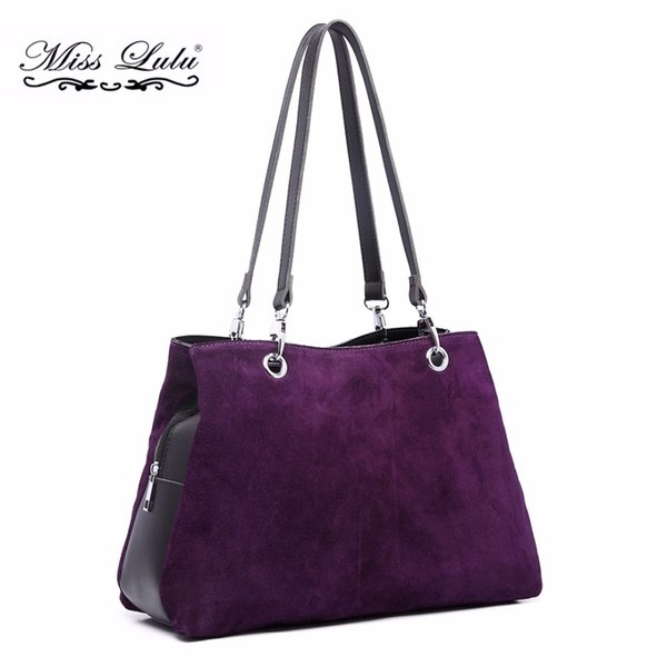 Miss Lulu Women Real Genuine Italian Suede Leather Handbags Ladies Shoulder Bags Female Vintage Tote Multi Compartments LH1724