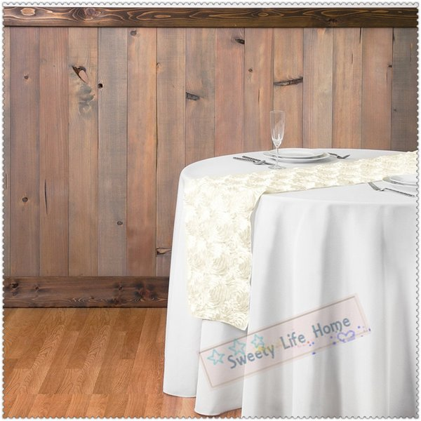 20pcs/Pack 12 inch x 108 inch Rose Embroidery Table Runner Rosette Satin Tabler unner for Wedding Party Banquet Ivory Table Decorations