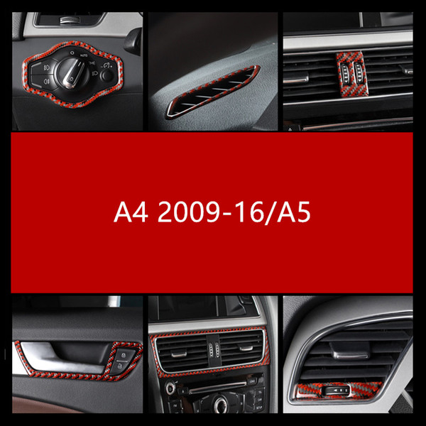 Carbon Fiber Dashboard Air Conditioning Outlet Decoration Cover Trim For Audi A4 2009-16/A5 Headlight Switch Button Frame