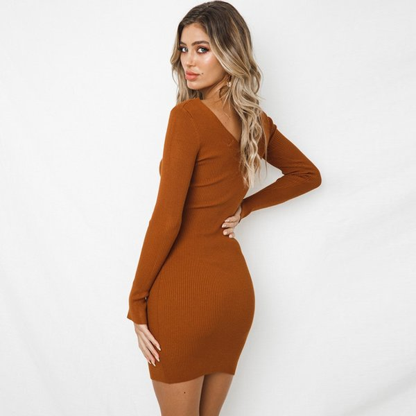 New Design Long Sleeve Party European Fall Custom Fit 2018 Bodycon Milk Fiber Digital Printing V neck Slim Dresses Women