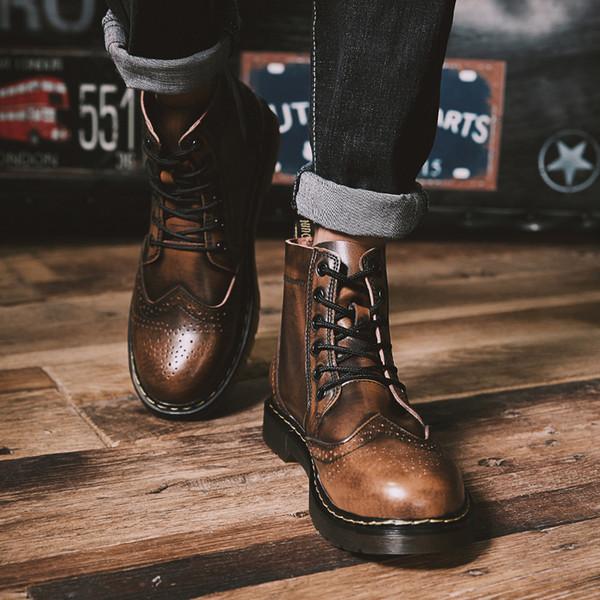 2018 moda inverno novo vestido retro dos homens sapatos velhos código extra grande 48 metros botas de ferramentas de alta ajuda 46