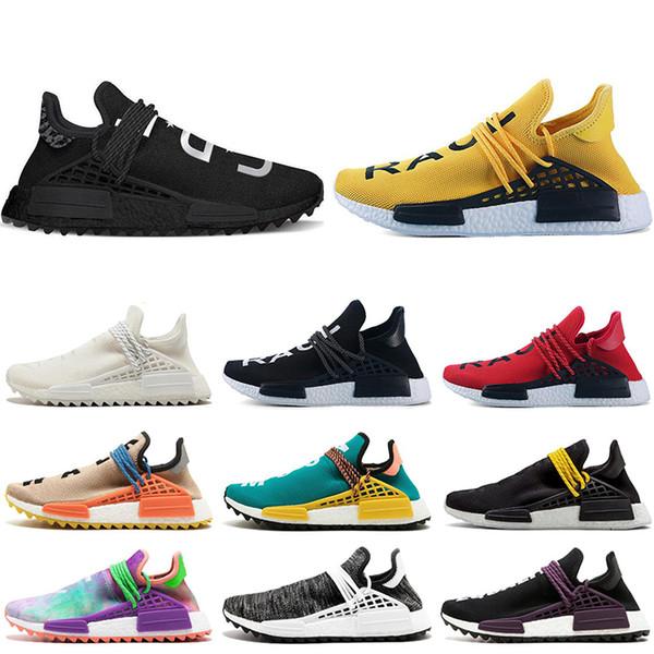 Compre Adidas Nmd Human Race Hu Trail X Pharrell Williams Hombres Zapatos Para Correr Negro Amarillo Encaje Lienzo En Blanco Para Hombre Entrenadores
