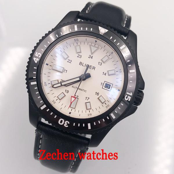 44mm bliger sterile white dial black ceramic bezel date window Automatic 316L case mens Watch