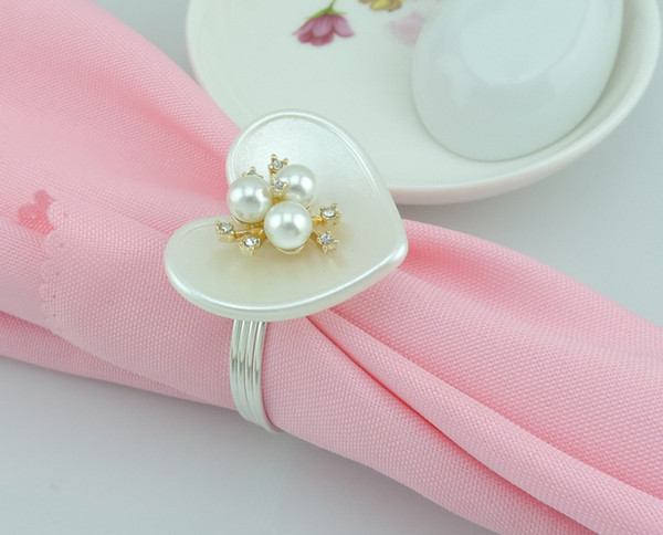 100pcs/lot High-end heart-shaped ring napkin ring, European-style hotel restaurant napkin buckle decorated banquet